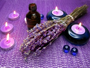spa candles and lavender