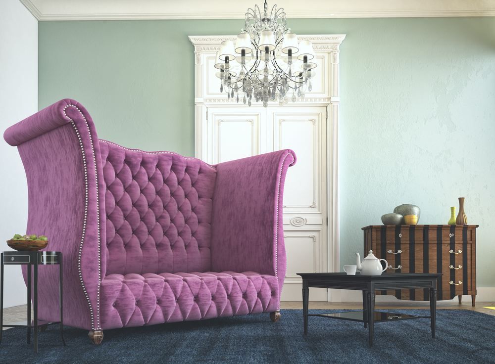 Beautiful vintage sofa next to wall. 3d rendering