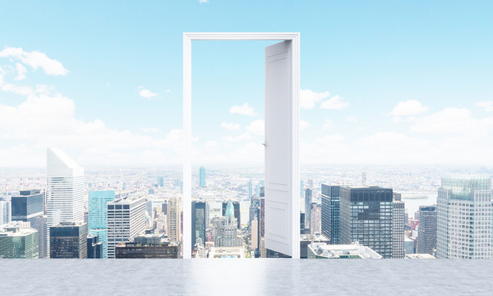 Conceptual image of open door on New York city background. 3D Rendering