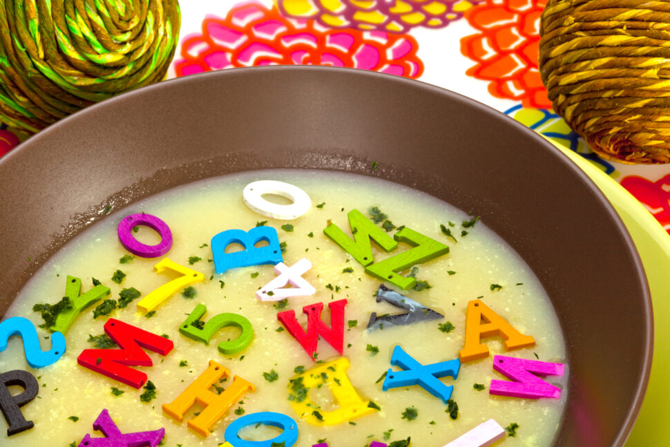 A hot- alphabet soup dish