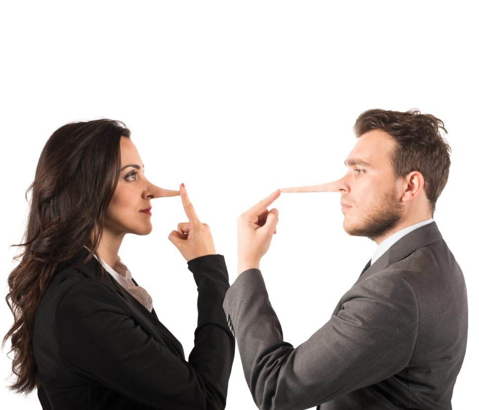 Man and woman touching their elongated noses (lie concept)